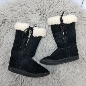 Emu Black Suede Lace Up Sheepskin Tall Boots 8